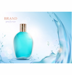 Glass bottle with a perfume vector