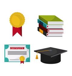 graduation cap diploma seal book icon vector image