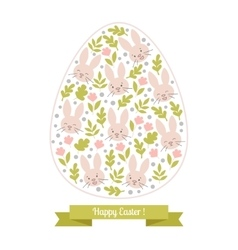 Greeting card white Easter bunny in the egg vector image