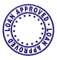 grunge textured loan approved round stamp seal vector image