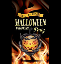 Halloween party flyer with pumpkin and fire flames vector