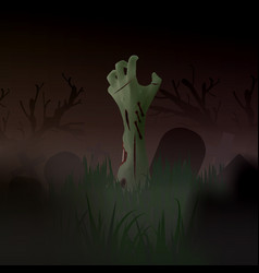Halloween zombie arm out the vector