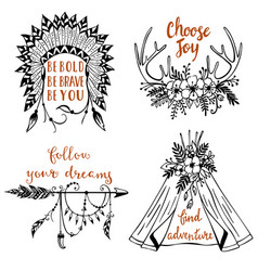 Hand drawn boho style design elements with vector