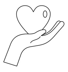 Heart in hand icon outline style vector