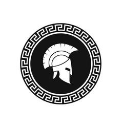 Illstration greek helmet and shield vector