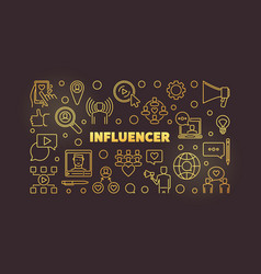 influencer concept outline golden vector image