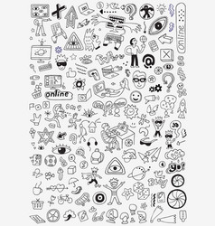 Internet technology doodle set pencil drawings vector