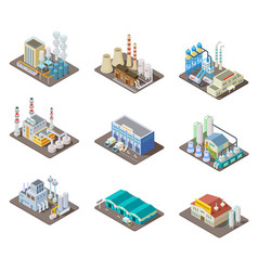 isometric factory set 3d industrial buildings vector image