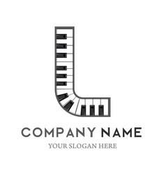 L letter logo design piano keyboard logo vector
