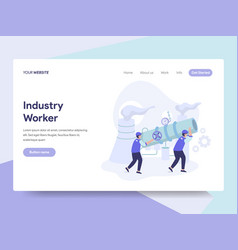 landing page template industrial worker vector image
