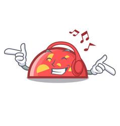 listening music semicircle mascot cartoon style vector image