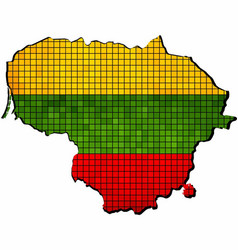lithuania map with flag inside vector image