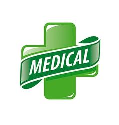 logo green cross and a ribbon vector image