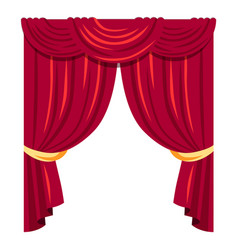 Luxurious red curtains flat vector