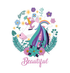 Magic unicorn cartoon vector