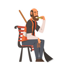 Man janitor sitting on bench with broom male vector