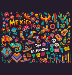 Mexican cartoon symbols day dead holiday vector