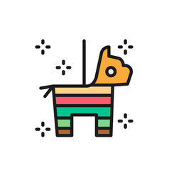 Mexican pinata horse with confetti and candy flat vector