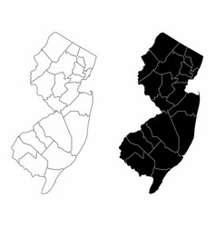 New jersey county maps vector