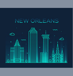 new orleans usa skyline line art style vector image