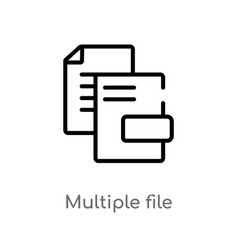 Outline multiple file icon isolated black simple vector