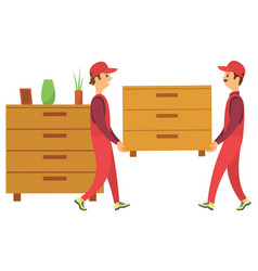 People carrying wooden furniture chest drawers vector