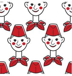 Pioneer ussr boy in red cap and neckerchief vector