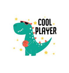 player dinosaur t-shirt design with slogan vector image