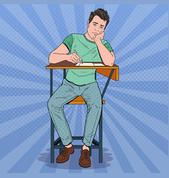 Pop art lazy student sitting on the desk vector