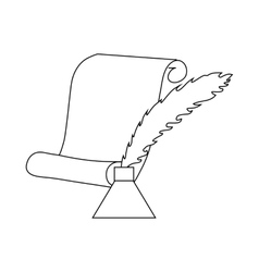 Quill pen with inkwell and paper scroll icon vector