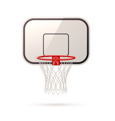 Realistic basketball board basket and hoop vector