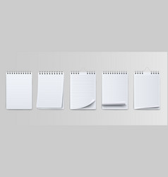realistic notebooks lined and dots paper page vector image
