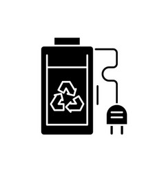 rechargeable battery black icon sign on vector image
