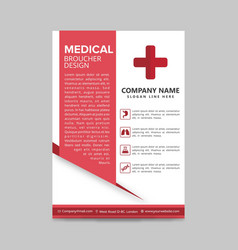 Red medical flyer layout template brochure vector