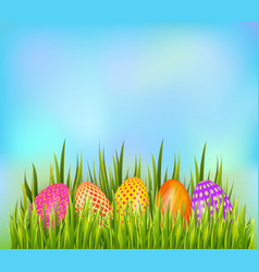 Row of decorated easter eggs hiding in grass on vector