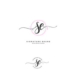 S e se initial letter handwriting and signature vector