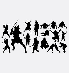 samurai and sumo silhouette vector image