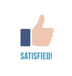 Satisfied icon with text Thumb up flat sign vector