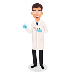 scientist man handsome cartoon character vector image