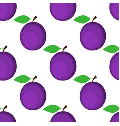 seamless background plum on white background vector image