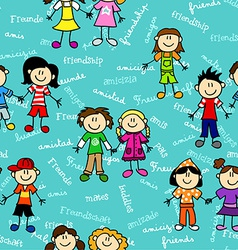 Seamless kids friendship pattern2 vector image