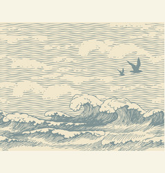 Seamless pattern with seascape in retro style vector