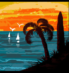 Seascape with palm and sails vector
