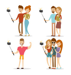 Selfie people isolated vector