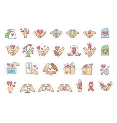 set charity and donation icons sketch vector image