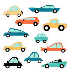 set funny cartoon cars vector image