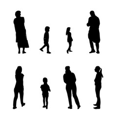 set of black and white silhouette walking people vector image