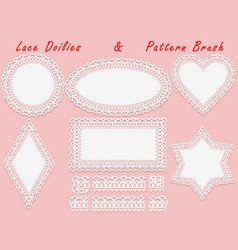 Set of lace elements vintage paper doily and vector