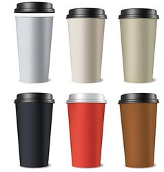 Set of paper cups isolated on a white background vector image