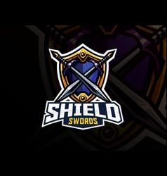 Shield and swords badge sport logo design vector